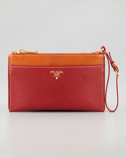 Prada Saffiano Bicolor Wristlet, Red/Orange