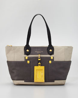 MARC by Marc Jacobs Preppy Colorblock Leather East-West Tote Bag, Silver Fox
