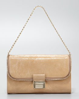 Jimmy Choo Lou Mini Patent Shoulder Bag, Nude