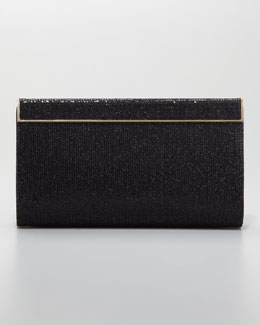 Jimmy Choo Cayla Metallic Flap Clutch Bag, Black