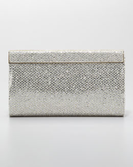 Jimmy Choo Cayla Metallic Flap Clutch Bag, Champagne