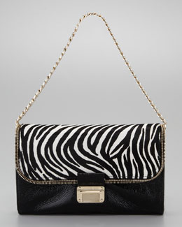 Jimmy Choo Mini Lou Zebra-Print Shoulder Bag