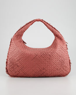 Bottega Veneta Large Veneta Hobo Bag with Fringe, Dark Rose