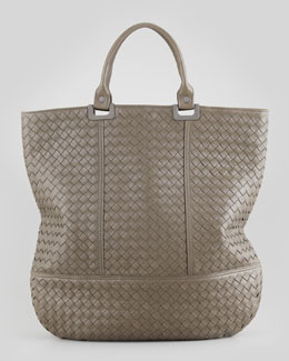 Bottega Veneta Large Woven North-South Tote Bag, Shadow Gray