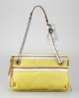 Lanvin Amalia Medium Quilted Lamb Shoulder Bag, Yellow