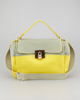 Lanvin For Me Double Carry Medium Handbag, Sea Green/Yellow