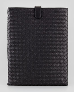 Bottega Veneta Woven Leather iPad Cover, Black