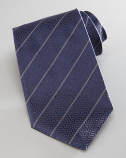 Armani Collezioni Diagonal Striped Chevron Tie, Navy