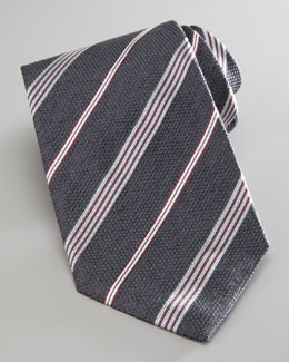 Armani Collezioni Textured Striped Tie, Gray
