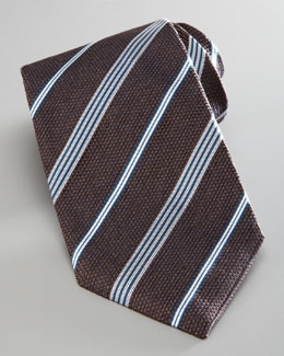 Armani Collezioni Textured Striped Tie, Brown