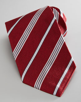 Armani Collezioni Textured Striped Tie, Red