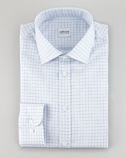 Armani Collezioni Dotted Graph Check Shirt, Light Blue
