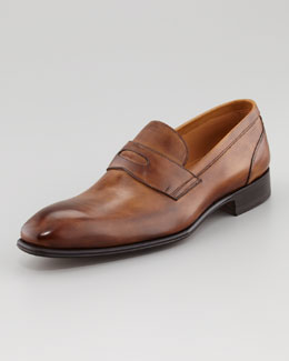 Stefano Branchini Almond Toe Penny Loafer, Brown