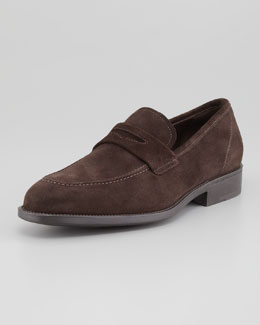 Salvatore Ferragamo Atlas Suede Penny Loafer, Brown