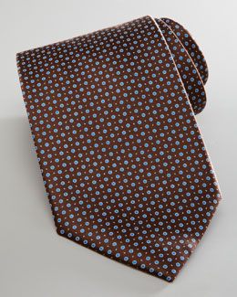 Brioni Dotted Silk Tie, Brown