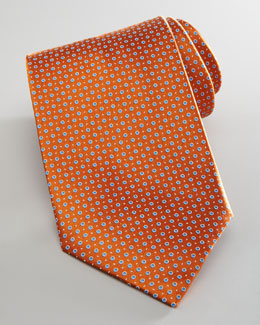 Brioni Dotted Silk Tie, Orange