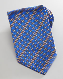 Brioni Dot-Grid Striped Tie, Blue
