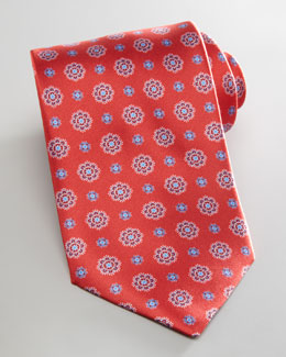 Brioni Neat Flowers Tie, Red
