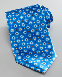 Brioni Floral Diamond Silk Tie, Blue