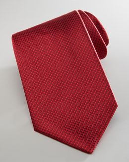 Brioni Dotted Silk Tie, Red/Tonal