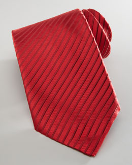 Brioni Diagonal-Striped Silk Tie, Red