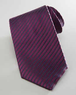 Brioni Diagonal-Striped Silk Tie, Wine
