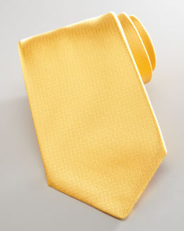 Brioni Pebbled Silk Tie, Yellow