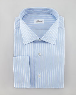 Brioni Texture Striped Dress Shirt, Blue