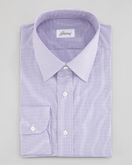 Brioni Mini-Check Dress Shirt, Purple