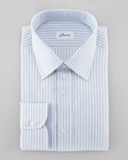 Brioni Herringbone Striped Dress Shirt