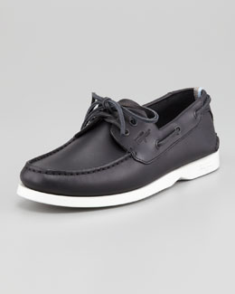 Ferragamo World World Boat Shoe, Navy