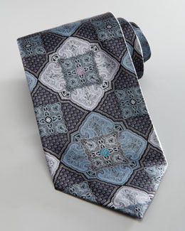 Ermenegildo Zegna Floating Medallion Silk Tie, Charcoal