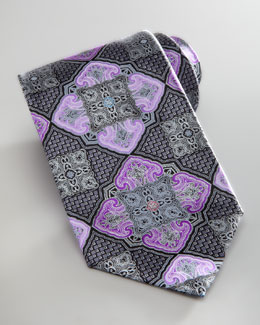 Ermenegildo Zegna Floating Medallion Silk Tie, Purple