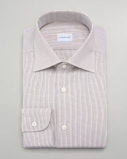 Ermenegildo Zegna Micro-Check Dress Shirt, Tan