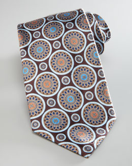 Ermenegildo Zegna Circle Medallion Silk Tie, Brown