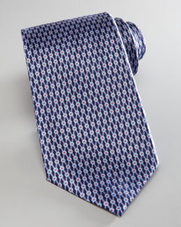 Ermenegildo Zegna Neat Diamond Lattice Tie, Navy