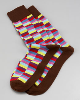 Arthur George by Robert Kardashian Mini-Rectangle Men's Socks, Brown