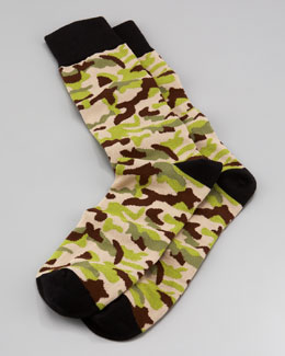 Arthur George by Robert Kardashian Camo Men's Socks, Black