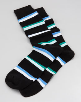 Arthur George by Robert Kardashian Rugby-Stripe Men's Socks, Black