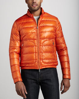 Moncler Acorus Puffer Moto Jacket, Orange
