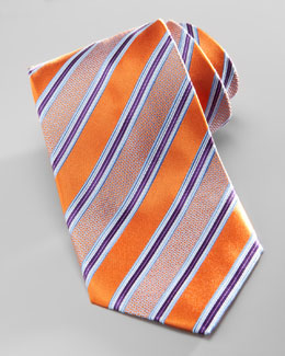 Ermenegildo Zegna Satin-Stripe Silk Tie, Orange