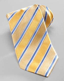 Ermenegildo Zegna Satin-Stripe Silk Tie, Yellow