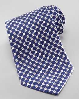 Salvatore Ferragamo Rabbit Silk Tie, Navy