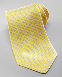 Salvatore Ferragamo Linked Gancini Silk Tie, Yellow