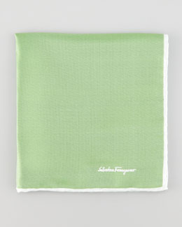 Salvatore Ferragamo Two-Tone Silk Pocket Square, Green
