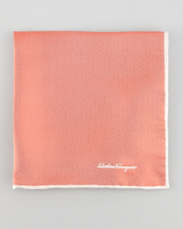 Salvatore Ferragamo Two-Tone Silk Pocket Square, Red