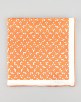 Salvatore Ferragamo Floral-Print Silk Pocket Square, Orange
