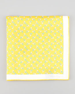 Salvatore Ferragamo Floral-Print Silk Pocket Square, Yellow