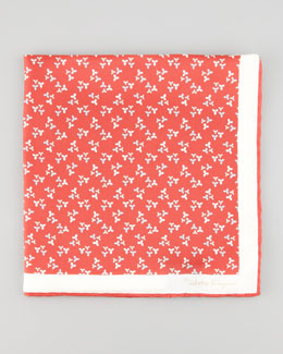 Salvatore Ferragamo Floral-Print Silk Pocket Square, Red