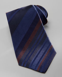 Kiton Striped Overdye Tie, Navy